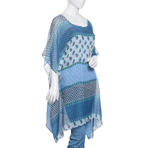 Blue, White and Multi Colour Floral and Stripes Printed Kaftan (Size 85x65 Cm)