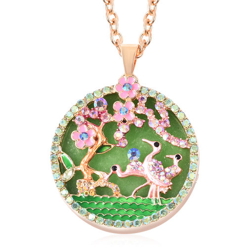 Green Quartzite, Simulated Emerald and Multi Colour Austrian Crystal Enamelled Floral vine and Crane