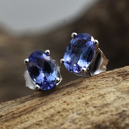 1 Carat AA Tanzanite Stud Earrings in 9K White Gold (with Push Back)