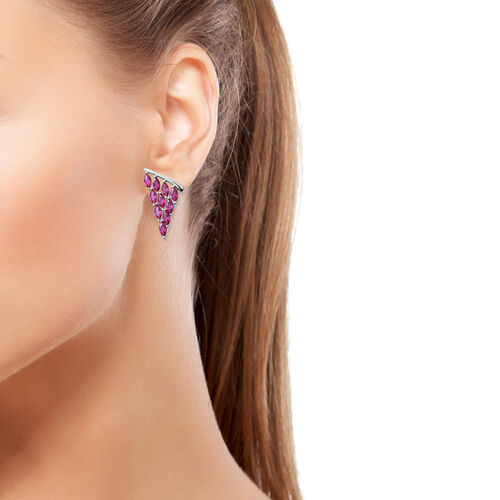 ELANZA Simulated Ruby (Mrq) Earrings (with Clasp Lock) in Rhodium Overlay Sterling Silver