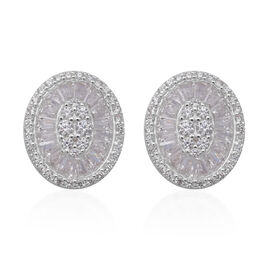 ELANZA Simulated Diamond Earrings (with Push Back) Sterling Silver