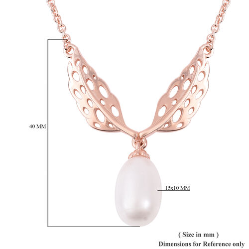 RACHEL GALLEY Freshwater White Pearl Lattice Feather Drop Necklace (Size 24) in Rose Gold Overlay Sterling Silver