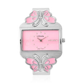 STRADA Japanese Movement White Austrian Crystal Studded Heart Pattern Pink Dial Butterfly Theme Bang