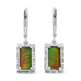 2.75 Ct AA Canadian Ammolite and Diamond Drop Halo Earrings in Platinum Plated Sterling Silver