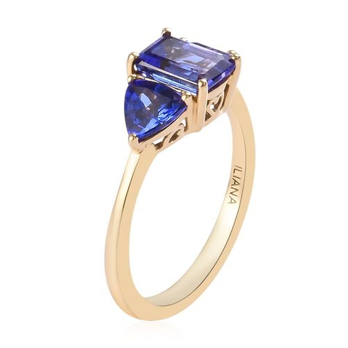 ILIANA 18K Yellow Gold AAA Tanzanite Trilogy Ring 2.00 Ct.