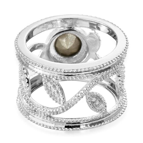 J Francis Crystal from Swarovski - Peridot Crystal (Rnd) Ring in Rhodium Plated Sterling Silver, Silver wt 5.30 Gms.