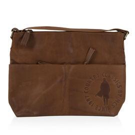 MCS Country Classics: 100% Genuine Leather Handbag - Tan