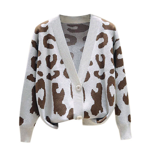 Kris Ana Animal Print Cardigan One Size (8-16) - Cream