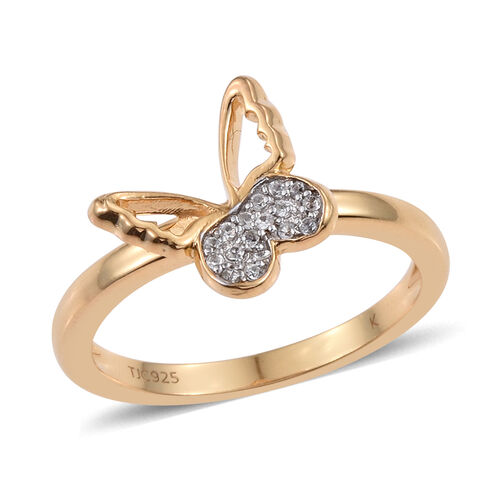 Kimberley Butterfly Collection Natural Cambodian Zircon (Rnd) Butterfly Ring in 14K Gold Overlay Ste