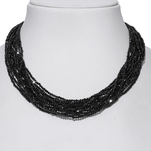 Designer Inspired-Boi Ploi Black Spinel (Rnd) Beads Necklace (Size 18) in Rhodium Overlay Sterling Silver  280.000 Ct.