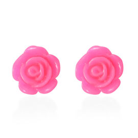 Designer Inspired- Sterling Silver Pink Flower Earrings
