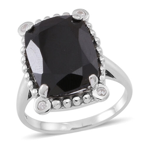 Boi Ploi Black Spinel (Cush 12.40 Ct), Natural White Cambodian Zircon Ring in Rhodium Plated Sterling Silver 12.500 Ct.
