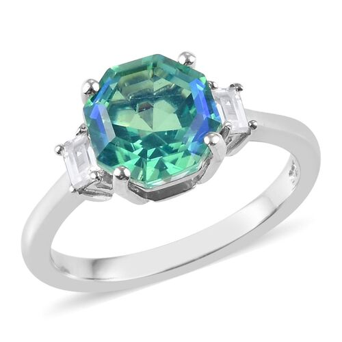 2.45 Ct Peacock Quartz Octillion and Zircon Solitaire Ring in Platinum Plated Silver