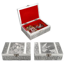 Set of 2 - Humming Bird Embossed Jewellery Storage Box with Wine Red Velvet Lining (Size 17.7x12.7x5