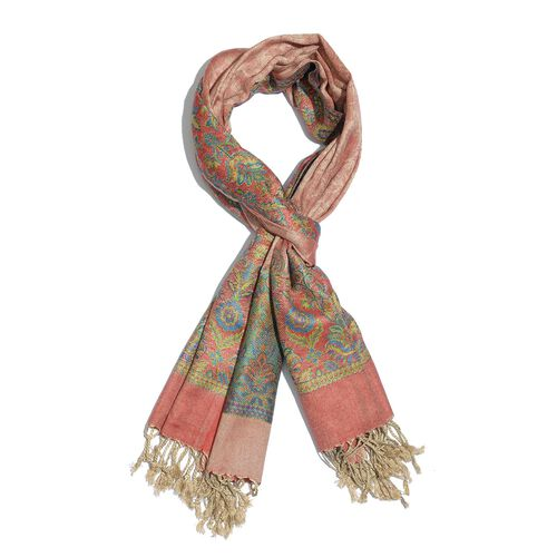Pink, Red and Multi Colour Scarf with Tassels (Size 180x70 Cm)