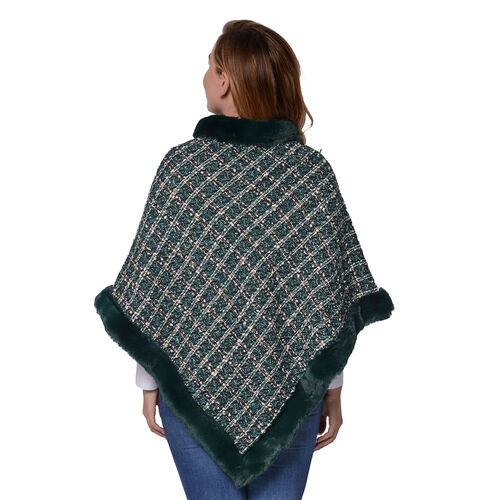 Green Checkered Pattern Tweed Poncho with Faux Fur Trim (Size 70x80cm)