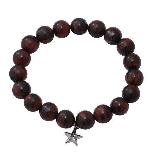 GP- 2 Piece Set Yellow and Red Tiger Eye and Blue Sapphire Stretchable Bracelet (Size 7-8) with Star Charm in Sterling Silver 300.03 Ct.