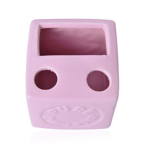 Pink Colour Square Shape Ceramic Bathroom Accessories 1 Toothbrush Holder (Size 8x8 Cm), 1 Tumbler (Size 8x8 Cm), 1 Soap Dish (Size 13x8 Cm) and 1 Lotion Dispenser (Size 15x8 Cm)