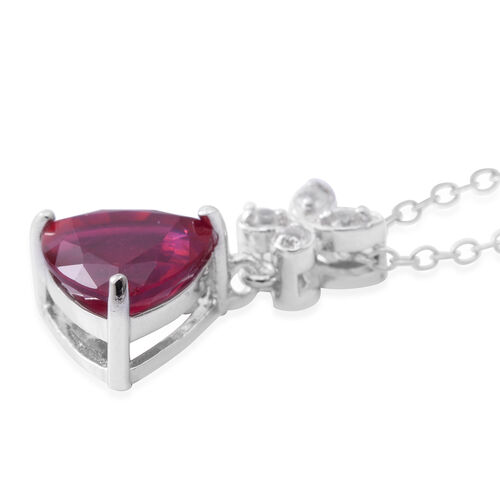 African Ruby (Trl 2.50 Ct), Natural White Cambodian Zircon Pendnat with Chain in Rhodium Plated Sterling Silver 2.720 Ct.
