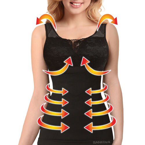 SANKOM SWITZERLAND Patent Vest with Bra and Lace - Black (Size S / M)