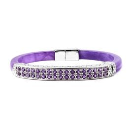 Purple Jade and Amethyst Bangle (Size 7.5) in Rhodium Overlay Sterling Silver 87.00 Ct, Silver wt 16