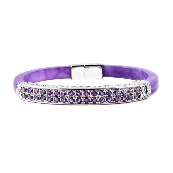 87 Carat Purple Jade and Amethyst Hand Craved Bangle in Rhodium Plated Silver 16 Grams 7.5 Inch