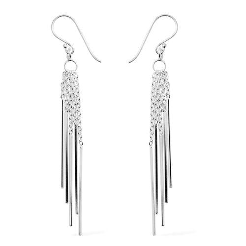Rhodium Overlay Sterling Silver Dangle Hook Earrings