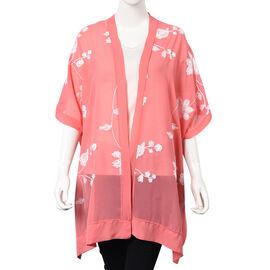 Flower Embroidery Pattern Kimono (Size 95x80 Cm) - Pink