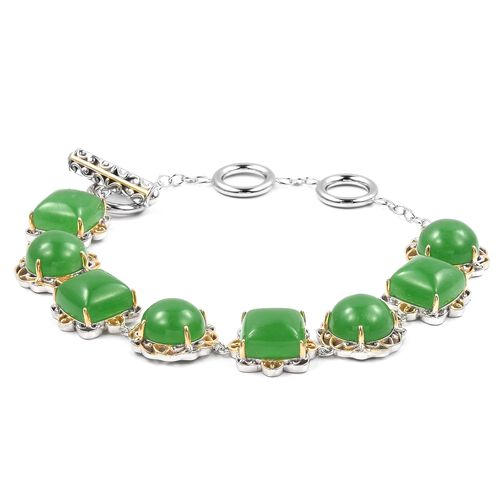 Green Jade (Cush and Rnd) Bracelet (Size 8) in Yellow Gold and Rhodium Overlay Sterling Silver 41.500 Ct, Silver wt 13.36 Gms.