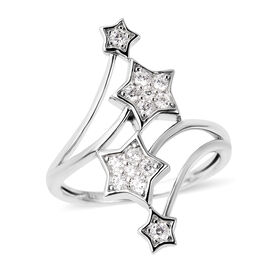 J Francis Made with SWAROVSKI ZIRCONIA Ring in Rhodium Plated Sterling Silver