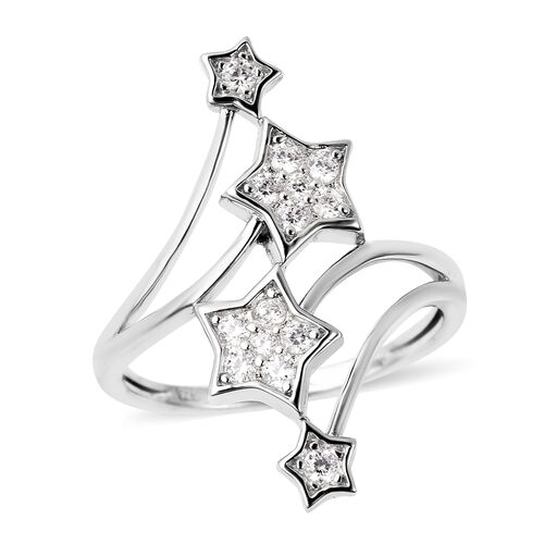 J Francis - Rhodium Overlay Sterling Silver Shooting Star Ring Made with SWAROVSKI ZIRCONIA