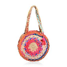 100% Natural Jute and Cotton Multi Colour Circle Pattern Shoulder Bag in Round Shape (Size 33x7.5 Cm