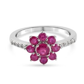 Burmese Ruby and Natural Cambodian Zircon Floral Ring in Platinum Overlay Sterling Silver 1.50 Ct.