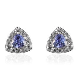 1 Ct AA Tanzanite and Zircon Stud Halo Earrings in Platinum Plated Sterling Silver