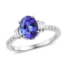 RHAPSODY 950 Platinum AAAA Tanzanite (Ovl 8.5x6.5 mm, 1.65 Ct), Diamond (VS/E-F) Ring 1.850 Ct.