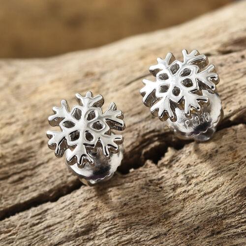 RHAPSODY 950 Platinum Snow Flake Earrings (with Screw Back)