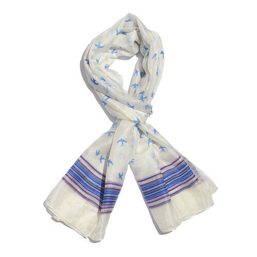 100% Mulberry Silk Cream, Blue and Multi Colour Handscreen Birds and Stripe Pattern Scarf (Size 170x