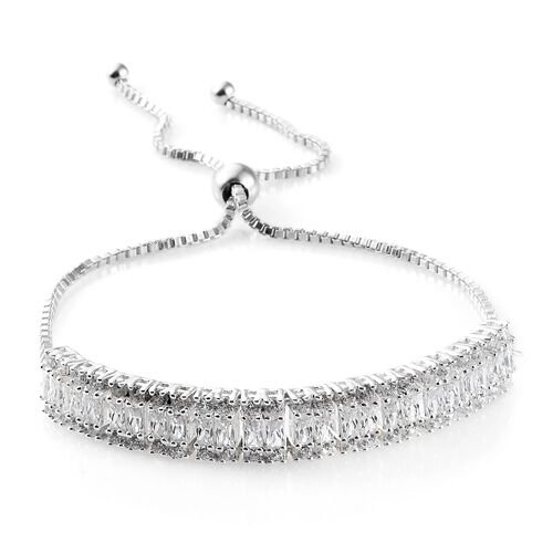 J Francis - Sterling Silver (Bgt and Rnd) Adjustable Bracelet (Size 6.5 to 9.5) Made with SWAROVSKI ZIRCONIA, Silver wt 9.36 Gms