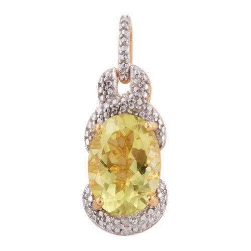 Natural Green Gold Quartz (Ovl), Diamond Pendant in 14K Gold Overlay Sterling Silver 5.750 Ct.