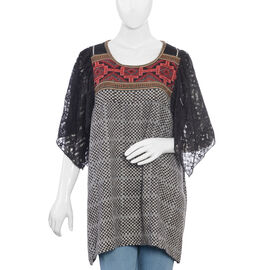 Black,White and Multi Colour Top with Net Flared Sleeves (Size 79 x 63 cm)