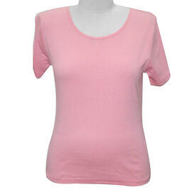 SUGARCRISP 100% Cotton Short Sleeve Rib TShirt (Size 10) - Flamingo Pink