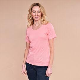 SUGARCRISP 100% Cotton Short Sleeve Rib TShirt (Size 10) - Flamingo Pink
