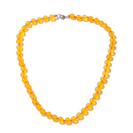 Yellow Quartzite  Beads Necklace (Size 20) in Platinum Overlay Sterling Silver 144.750 Ct.