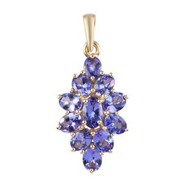 2 Carat AA Tanzanite Cluster Pendant in 9K Yellow Gold