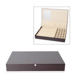 Croc Embossed Jewellery Box with Mirror Inside (Size 35x24x4.3 cm) - Chocolate