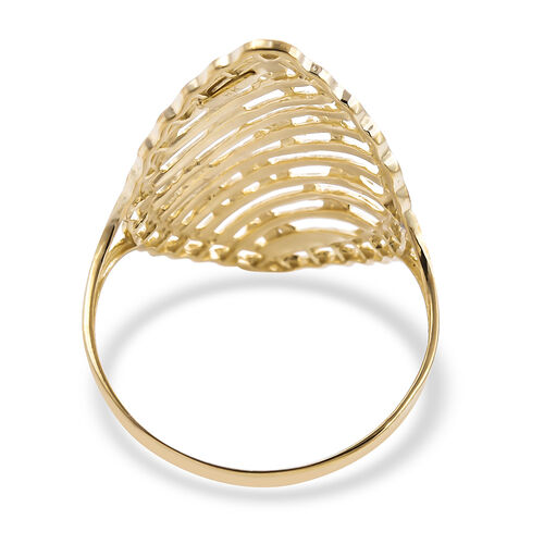 Royal Bali Collection - 9K Yellow Gold Diamond Cut Floral Ring, Gold wt 2.22 Gms