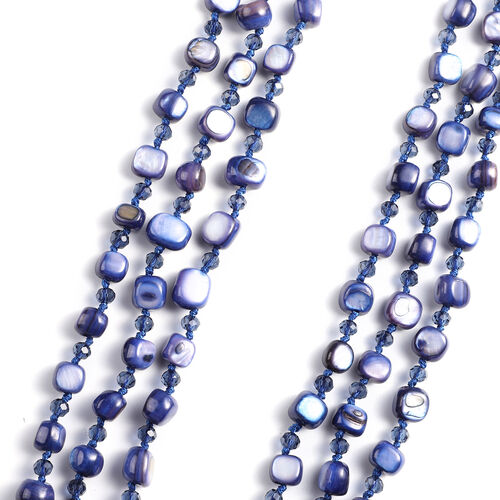 Simulated Blue Sapphire  Beaded Necklace (Size 22 with 2 inch Extender) in Silver Tone