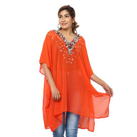 Crystal-Embellished V-Neck Kaftan Top (One Size; L-90cm, W-74cm) - Red