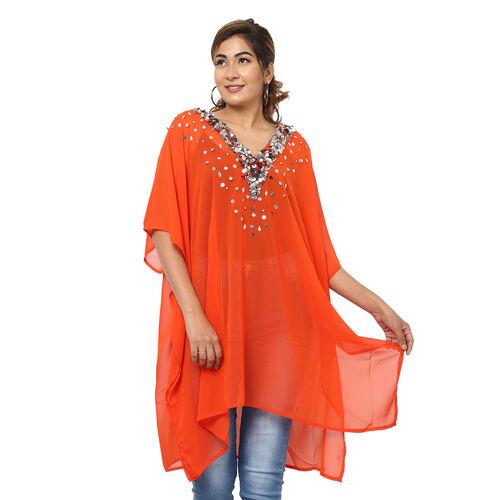 Crystal-Embellished V-Neck Kaftan Top (One Size; L-90cm, W-74cm) - Red
