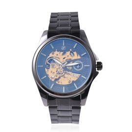 GENOA Automatic Movement Skeleton Water Resistant Watch with Chain Strap in Black Tone